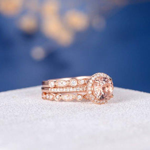 Art Deco Morganite 3pcs Bridal Set Engagement Ring Rose Gold Eternity Band