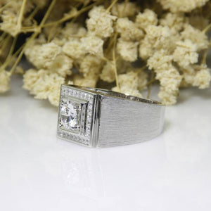 Halo Wide Band, Round 1CT Moissanite Ring, 14k White Gold Men's Wedding Band