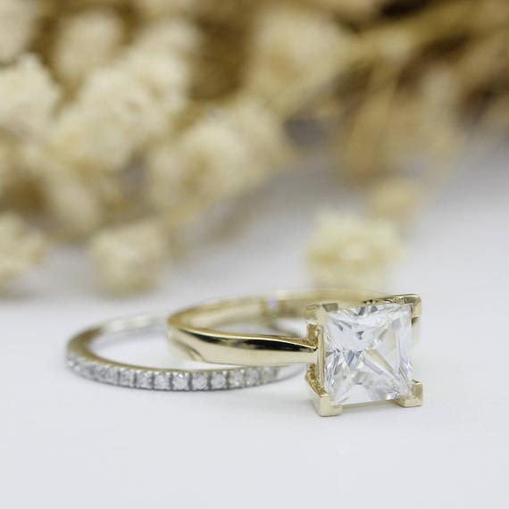 Princess Cut 2.2CT Moissanite Ring, Solitaire 14k Yellow Gold Wedding Ring