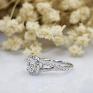 Halo Cushion Cut 1.50ct Moissanite Ring, Accents Split Shanks Engagement Ring