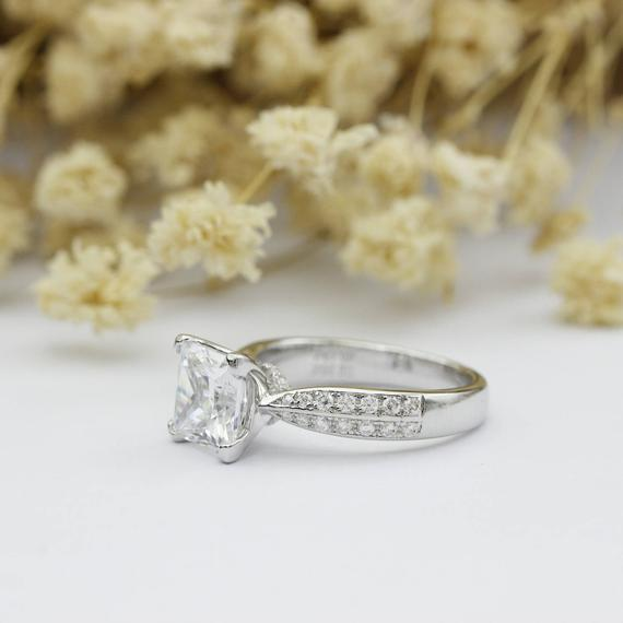 Princess Cut 2.2ct Square Moissanite Star Accents Engagement Ring
