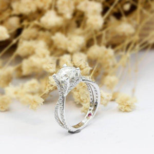 1.0CT Round Cut Moissanite Engagement Ring, Vintage Twist Band Ring