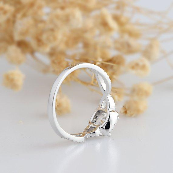 Cushion Cut 1CT Esdomera Moissanite Ring, Halo Cross Twist Band Ring