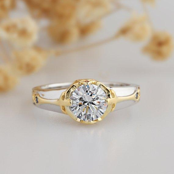 1.0CT Round Cut Moissanite Wedding Ring, 14k Gold Vintage Solitaire Ring