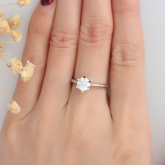 Round Cut 1ct Esdomera Moissanite Ring, Solitaire 6-Prongs Wedding Ring