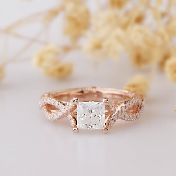 Princess Cut 1ct Esdomera Moissanite Ring, Antique Filigree Wedding Ring