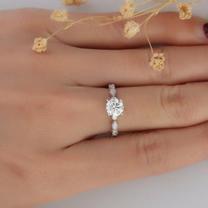 Vintage Filigree 1ct Esdomera Moissanite Ring, 14k White Gold Ring, Engagament Ring