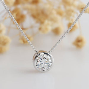 Round Cut 1CT Moissanite Pendant Necklace, Bezel Solitaire Necklace