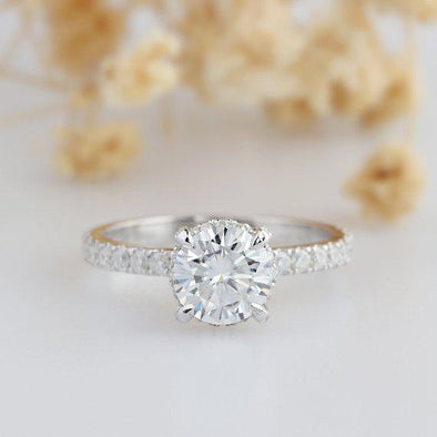 Moissanite Ring, 4 Prongs 1ct Esdomera Moissanites Pave Accents High Crown 14k White Gold Engagament Ring, Art Deco Ring, Prong Set Ring