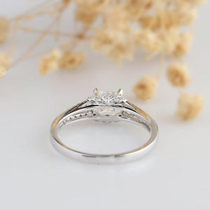 Princess Cut 1ct Esdomera Moissanite Ring, Pave Set 14k White Gold Ring