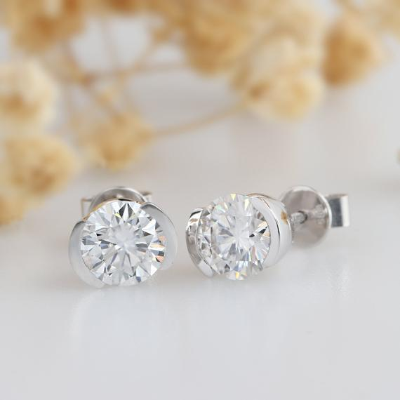 1.60CTW Round Cut Moissanite Stud Earrings, Half Bezel Set Solitaire Earring