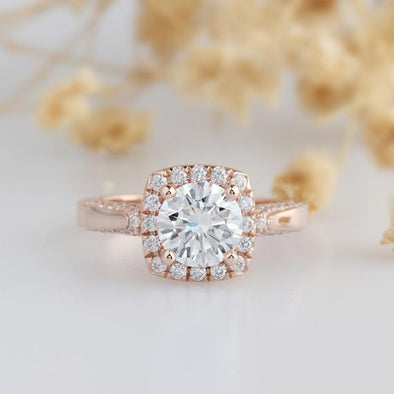 Vintage Rose Gold Ring, 1.25ct Round Esdomera Moissanites Halo Accents 14k Rose Gold Antique Filigree Engagament Ring, Art Deco Ring