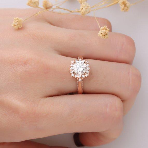 1.25ct Round Esdomera Moissanites Ring, Halo Accents 14k Rose Gold Ring