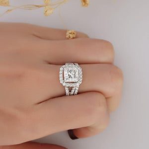 Princess Cut 3ct Moissanite Wedding Ring, Halo Split Shanks Bridal Set