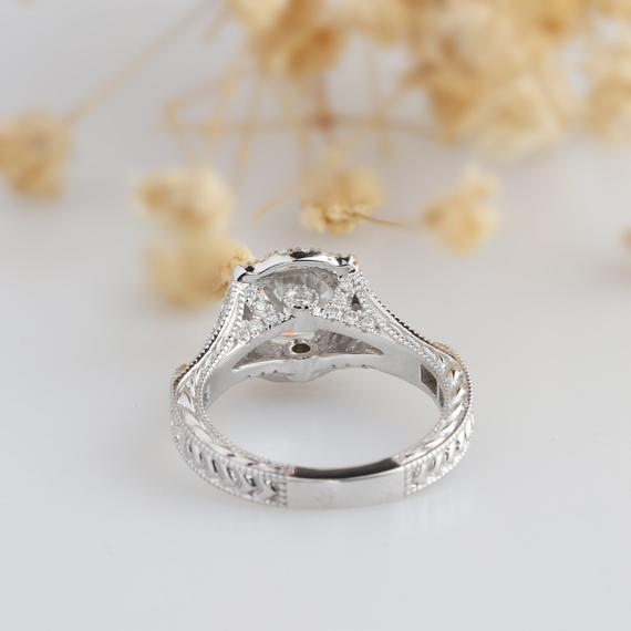 Round Cut 1 CT Moissanite Ring, Split Shanks 14k White Gold Ring