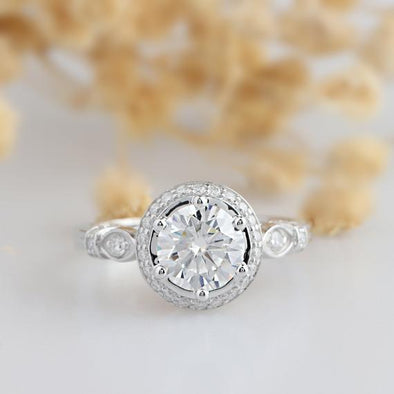 Vintage Moissanite Ring, Round Cut 2 CT Moissanite Antique Filigree Halo Ring, 14k White Gold Wedding Ring, Engagement Ring