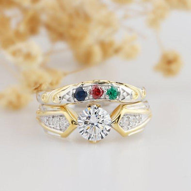 Zelda Ring Set, Video Game Triforce Design Esdomera Moissanite Ring