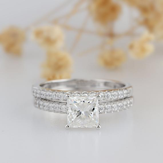 Princess Cut 1.5CT Esdomera Moissanite Ring, Prong Set Wedding Ring, Bridal Set