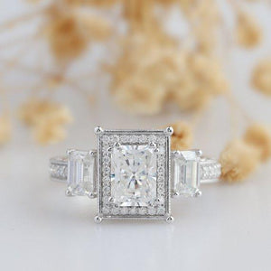 Radiant Cut 2 CT Moissanite Ring, Emerald Cut 3 Stone Engagement Ring