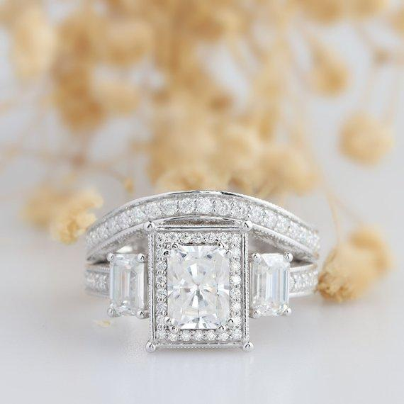 Radiant Cut 2 CT Moissanite Ring, Halo Emerald Cut 3 Stone Ring