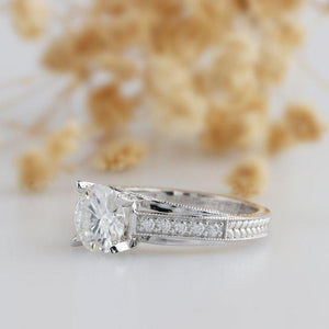 Cross Band 2.5ct Esdomera Moissanite Ring, 14k White Gold Engagement Ring