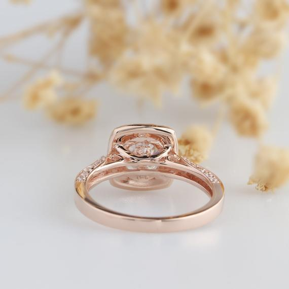 Halo Accents 14k Rose Gold Ring, 1.25ct Round Esdomera Moissanites Ring