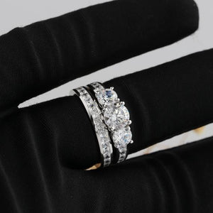 Round Cut 1CT Moissanite 3 Stone Bridal Set, Vintage Round Cut Side Stone Wedding Set