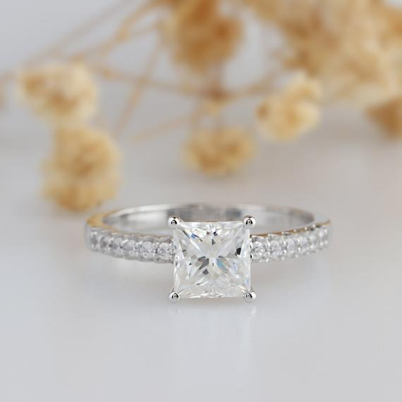 Princess Cut 1.5CT Moissanite Ring Prong Pave Accents Wedding Ring