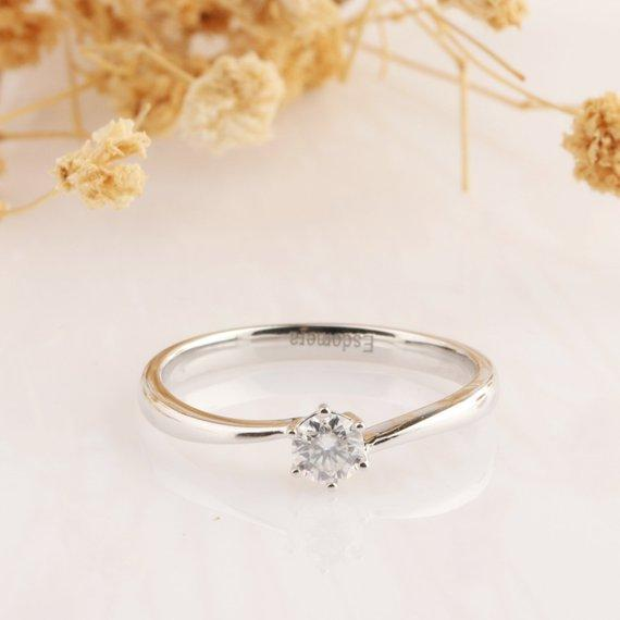 0.25CT Round Cut Moissanite Wedding Ring, Solitaire Prong Set White Gold Ring