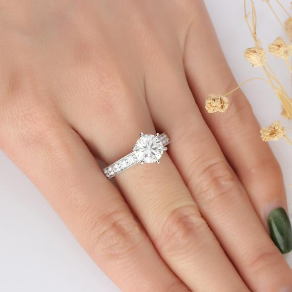 Round Cut 2ct Esdomera Moissanite Ring, Vintage Filigree Ring, Engagement Ring