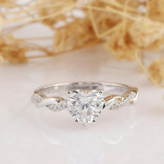 Heart Shape 1CT Esdomera Moissanite Ring, Rope Style Engagement Ring