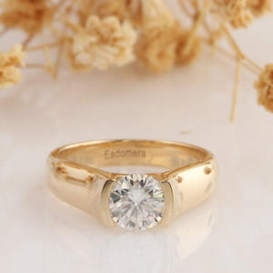 1.0CT Round Cut Moissanite Wedding Ring, Solitaire 14k Rose Gold Engagament Ring