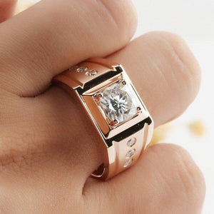 Cushion Cut 7.5mm Moissanite Center Wide Estate Wedding Band for Men