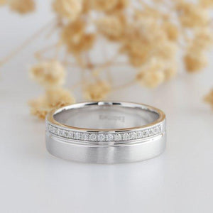 Round 0.17ctw Moissanite Ring, 14k White Gold Men's Wedding Band