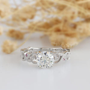 1.0CT Round Cut Moissanites Engagement Ring, 4 prongs Butterfly Style Ring