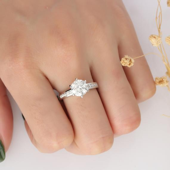 Round 1ct Esdomera Moissanite Channel Accent 6 Prongs Engagement Ring