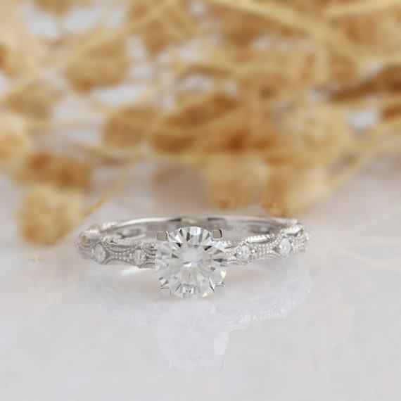 Round Cut 1ct Moissanite Ring, Vintage Wedding Ring, 14k White Gold Engagement Ring