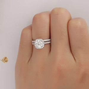 Bridal Set, Halo Round Cut 1.00 CT Moissanite Ring, 14k White Gold Ring