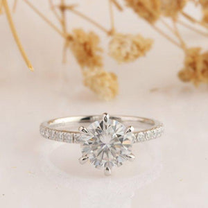 Custom Order - 2ct Moissanite Ring, 3/4 Eternity Pave Accent 6 Prongs Promise Ring for Jennifer
