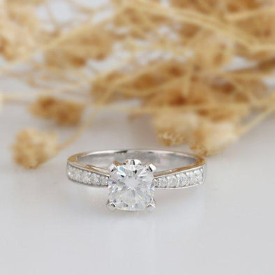 Moissanite Ring, Cushion Cut 1.1CT Color DEF Moissanite Ring, Channel Set Accent, 14k White Gold Engagement Ring, Promise Ring, Wedding Ring