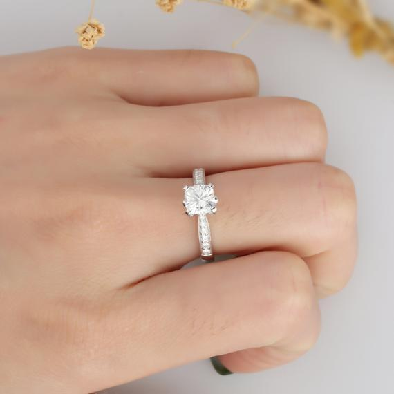 Cushion Cut 1.1CT Moissanite Ring, Channel Set Accent Promise Ring