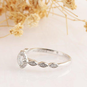 Round 4mm 0.3ct Moissanite Ring, Halo Filigree Style Engagement Ring, 14k White Gold Ring