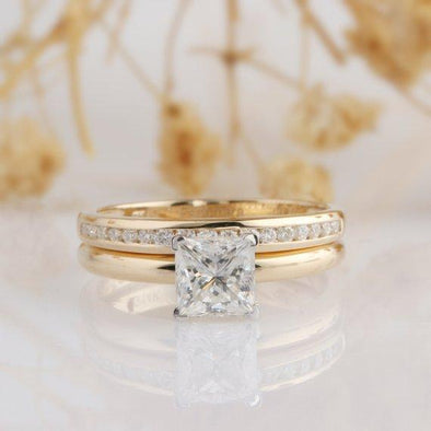 Square Moissanite Bridal Set, Princess Cut 1 CT Moissanite Wedding Set, 4 Prong Solitaire 14k Two Tone Gold Wedding Ring, Promise Ring Set