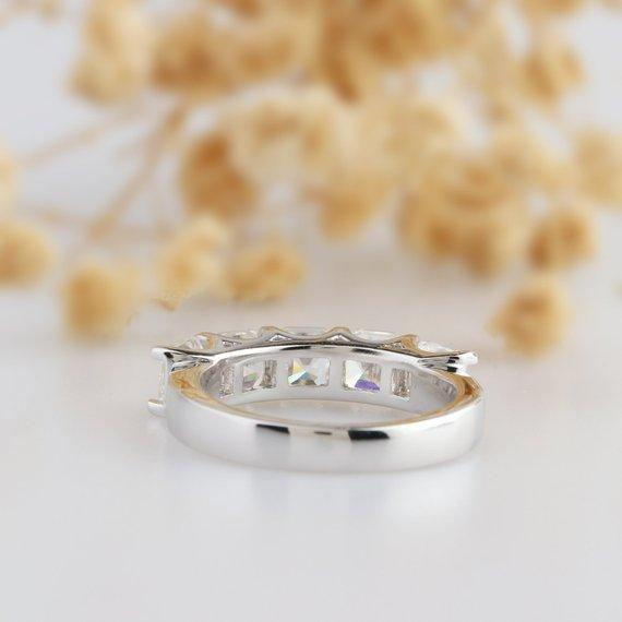 Asscher Cut 4.0CT Moissanite Wedding Band, 5 Stone Engagement Ring