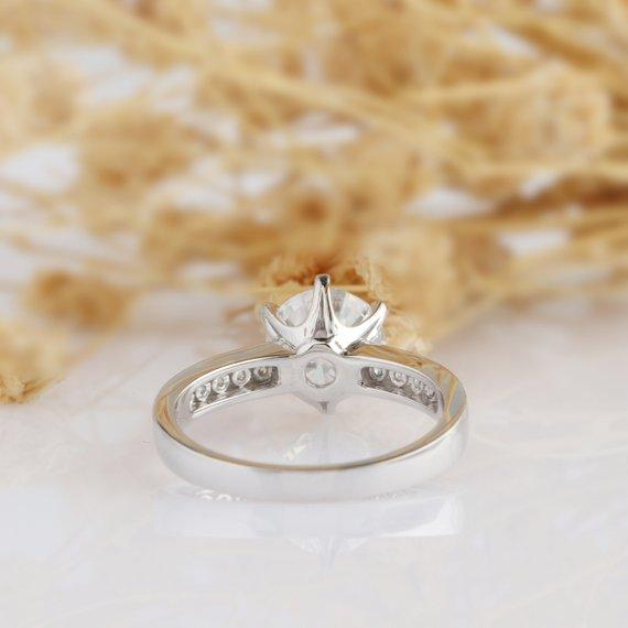Round Cut 2ct Moissanite Channel Accent 6 Prongs Engagament Ring