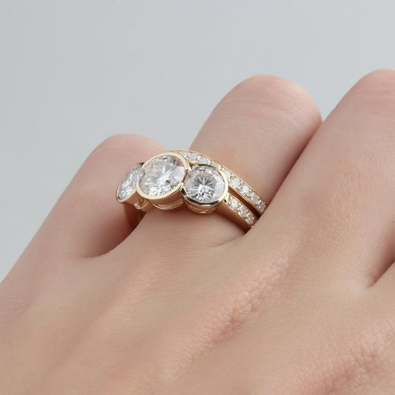 1.5ct Round Moissanite Ring, Bezel 3 Stones 14k Yellow Gold Ring