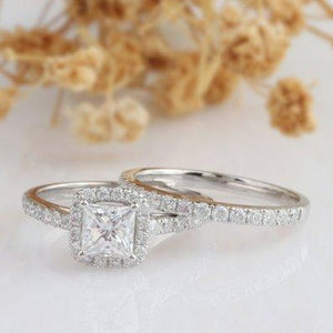 Halo Princess Cut 5mm Moissanite Ring, 14k White Gold Ring, Bridal Set