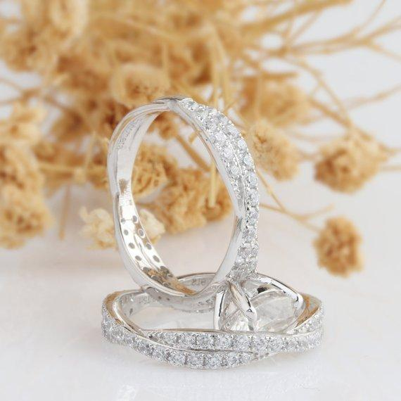 Round Cut 2ct Moissanite Twist Band Style 14k White Gold Bridal Set
