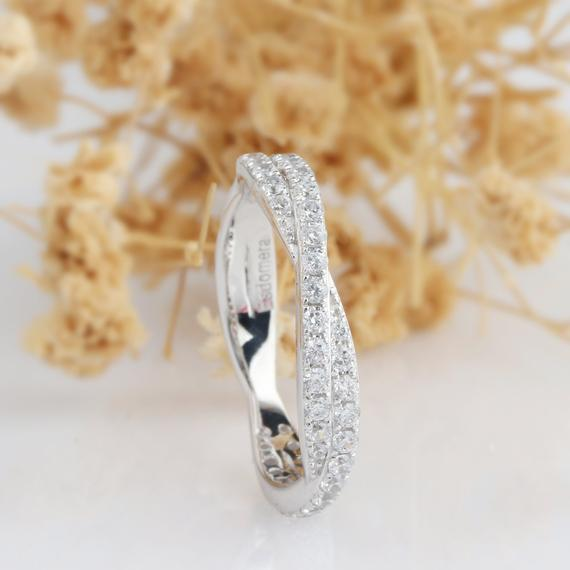 Rope Moissanite Band, Half Eternity Wedding Band, Double Pave Set Ring