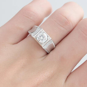 Estate Round Cut 1ct Moissanite Accents Men's Wedding Band